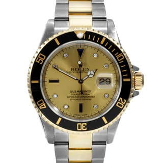 Pre-owned Rolex Mens Submariner Two-tone Goldplated Diamond-accented Watch