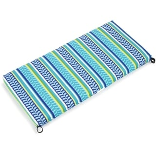 Blazing Needles Floral/ Stripe 48 x 19-inch Outdoor Spun Poly Bench/Loveseat Cushion