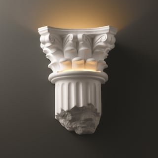 Justice Design Group 1-light Corinthian Column Closed Bottom Ceramic Sconce