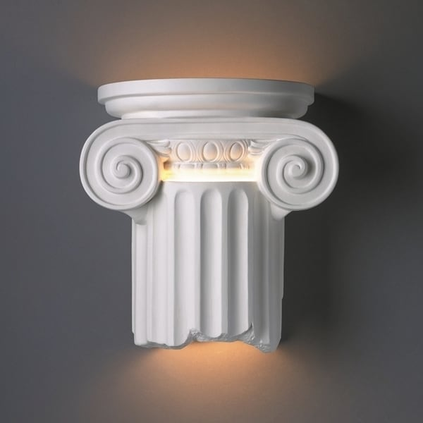 Justice Design Group 1-light Ionic Column Open Bottom Outdoor Ceramic Sconce