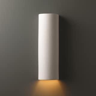 Justice Design Group 1-light ADA Tube Closed Top Outdoor Ceramic Sconce