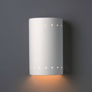 1-light Closed Top Perferated Cylinder Ceramic Sconce