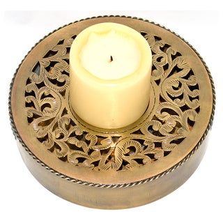 Hand-chiseled Round Brass Candle Base (Morocco)