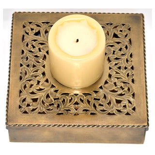 Hand-chiseled Square Brass Candle Base (Morocco)