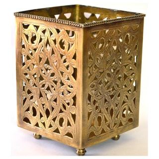 Handmade Brass Filigree Candle Holder (Morocco)