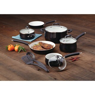 Paula Deen Savannah Collection Black Aluminum Nonstick 12-piece Nonstick Cookware Set