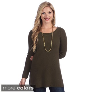 Ply Cashmere Women's Long Sleeve Crew Neck Tunic