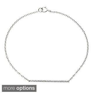 14k White Gold 1/10ct TDW Diamond Bar Bracelet (G-H, SI1-SI2)