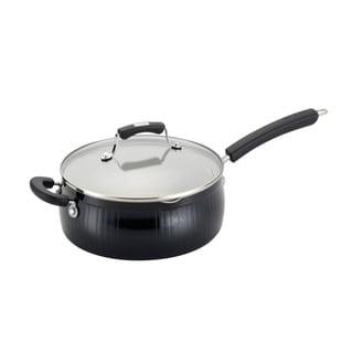 Paula Deen Savannah Collection Black Aluminum Nonstick 4-Quart Covered Saute with Pour Spouts and Helper Handle