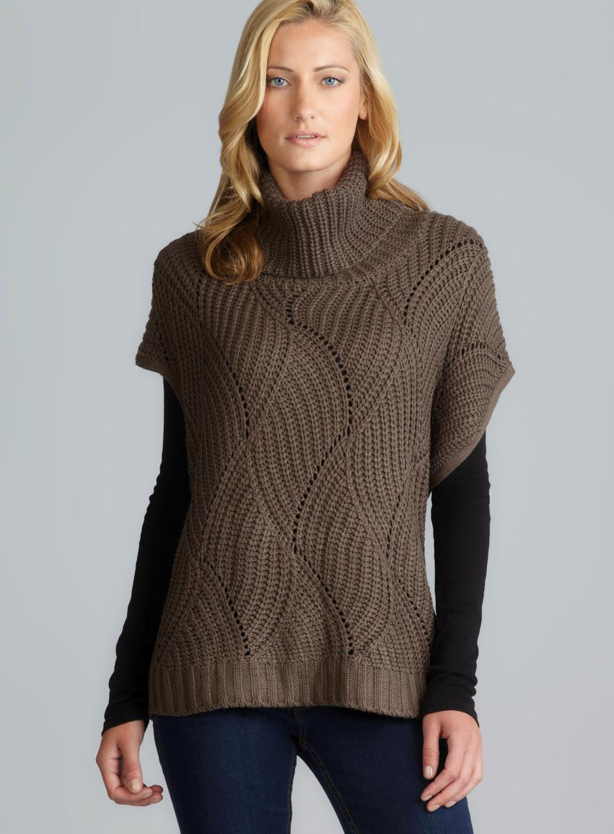 Andrea Jovine Draped Turtleneck Oversized Knit Pullover Sweater