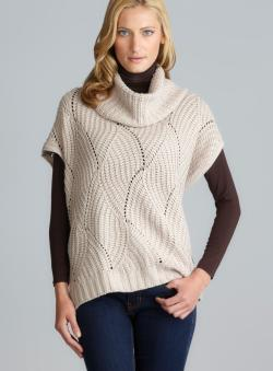 Andrea Jovine Oatmeal Draped Turtleneck Oversized Knit Pullover Sweate