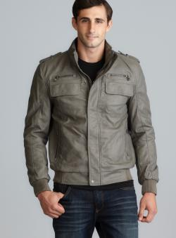 Calvin Klein Gray Faux Leather Bomber Jacket - Overstock Shopping
