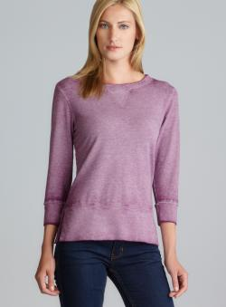 Central Park Side Slit Hem 3/4-Sleeve Dyed Berry Top
