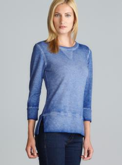 Central Park Side Slit Hem 3/4-Sleeve Dyed Blue Top