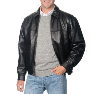 Men's Boston Harbour Black Leather Bomber Jacket