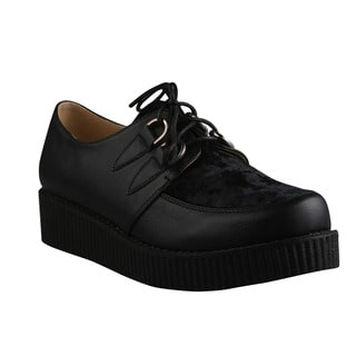 Refresh Women's 'Add-02' Black and Velveteen Lace-up Creeper Shoes