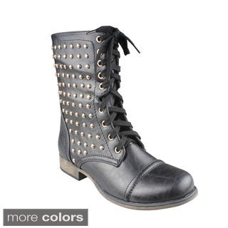 Refresh Women's 'Davina-01' Studded Combat Boots