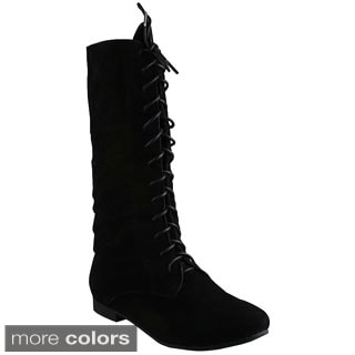 Refresh Women's Chase-03' Suedette Lace-up Mid-calf Boots