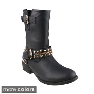 Refresh Women's 'Burten-01' Studded Buckle Mid-calf Boots