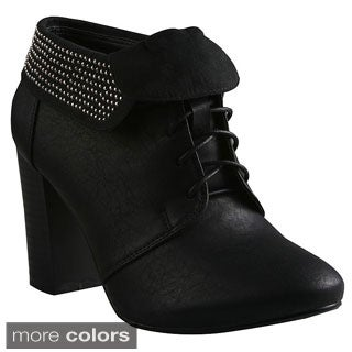 Refresh Women's 'Salem-01' Lace-up Chunky Heel Booties