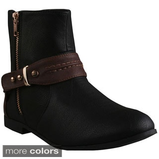 Refresh Women's 'Polly-01' Buckle Bands Ankle Boots