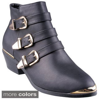 Refresh Women's 'Party-01' Buckle Band Ankle Boots