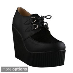 Refresh Women's 'Motto-01' Platform Lace-up Wedge Creeper Shoes