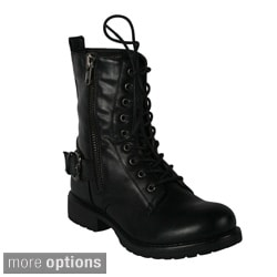 Blossom Women's 'Oria-1' Lace-up Combat Boots