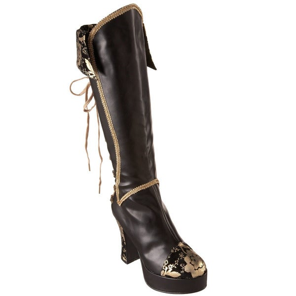 Popular Women39s Sexy Black Pirate Knee Boot 4 Colored Ribbon Laces PIRATE130