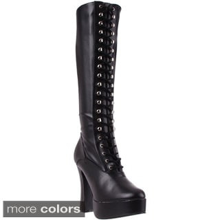 Pleaser Women's 'Electra-2023' Black Lace-up Knee High Boots