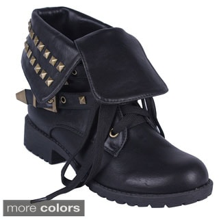 DBDK Women's 'Evelyn-1' Fold-over Studded Ankle Boots