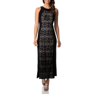 R & M Richards Women's Black Lace Panel Jersey Gown