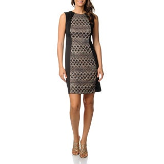 R & M Richards Women's Black Novelty Printed Panel Dress