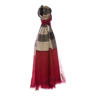 Burberry Ruby Red Contrast Border Check Cashmere Scarf