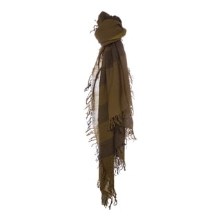 Burberry Olive Check Wool Square Scarf