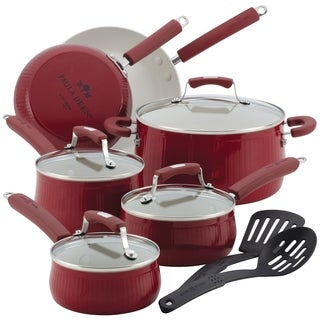 Paula Deen Savannah Collection Red Aluminum Nonstick 12-piece Cookware Set