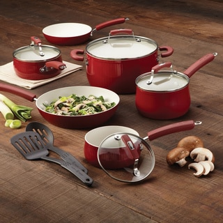 Paula Deen Savannah Collection Red Aluminum Nonstick 12-piece Cookware Set with $20 Mail-In Rebate