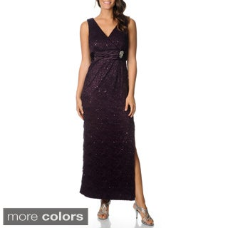 R & M Richards Women's Sequined Lace Sheath Gown