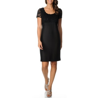 R & M Richards Women's Black 2-fer Lace Sheath Dress