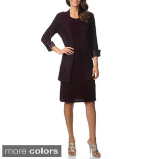 R & M Richards Women's Glitter Knit Jacket Dress Set