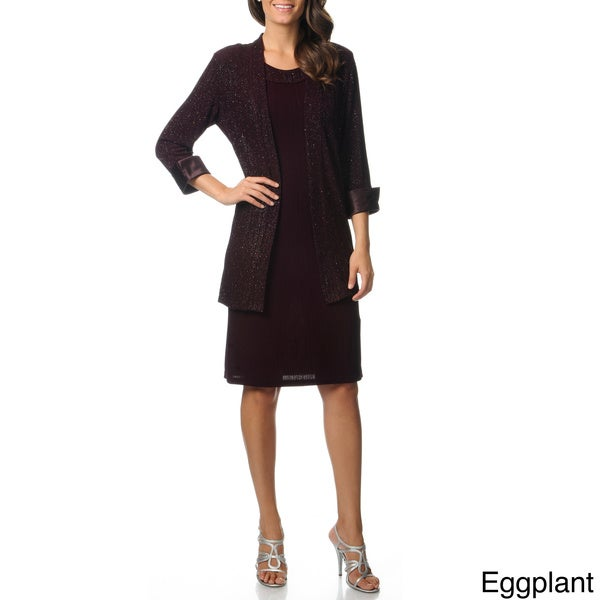 R & M Richards Women's Glitter Knit Jacket Dress Set