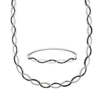 Finesque Silverplated 1/4 ct TDW Black Diamond Infinity Necklace and Bangle Set (I-J, I2-I3)