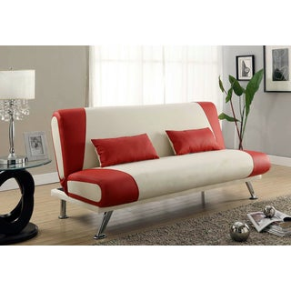 Red and White Leatherette Futon