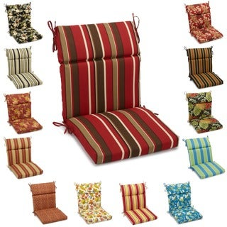 Blazing Needles 38-inch x 18-inch Patterned Outdoor Spun Poly Three-Section Back/Seat Chair Cushion