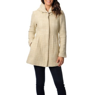 Coffee Shop Women's Basket Weave Faux Wool Coat