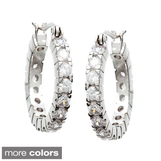 Simon Frank 3.52ct. Equal Diamond Weight Bright White CZ Hoop Earrings