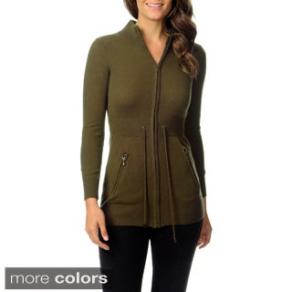 Ply Cashmere Women's Mock Neck Zip Jacket