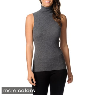 Ply Cashmere Women's Sleeveless Turtleneck Top