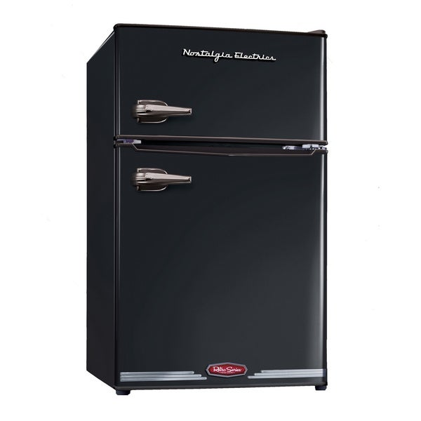 Nostalgia Electrics RRF325HNBLK Black Retro Series 3.1-Cubic Foot Compact Refrigerator Freezer