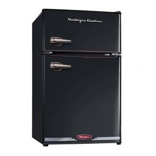 Nostalgia Electrics RRF325HNBLK Black Retro Series 3.1-Cubic Foot Compact Refrigerator Freezer